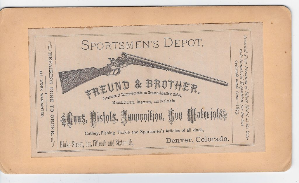 Freund Gun Shop Denver stereo label