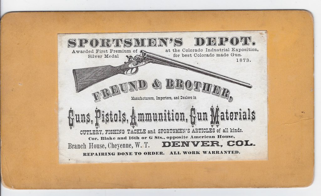 Freund Gun Shop Denver stereo label 1873