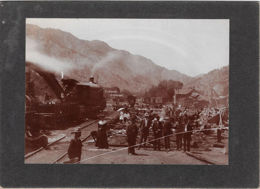 Freight explosition at depot 1907 Boulder Colo 96b