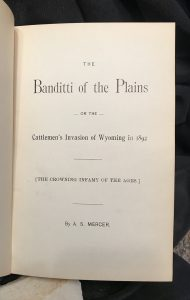 Banditti of the Plains, Mercer 1894
