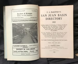 San Juan Basin Directory, Colorado & New Mexico 1915