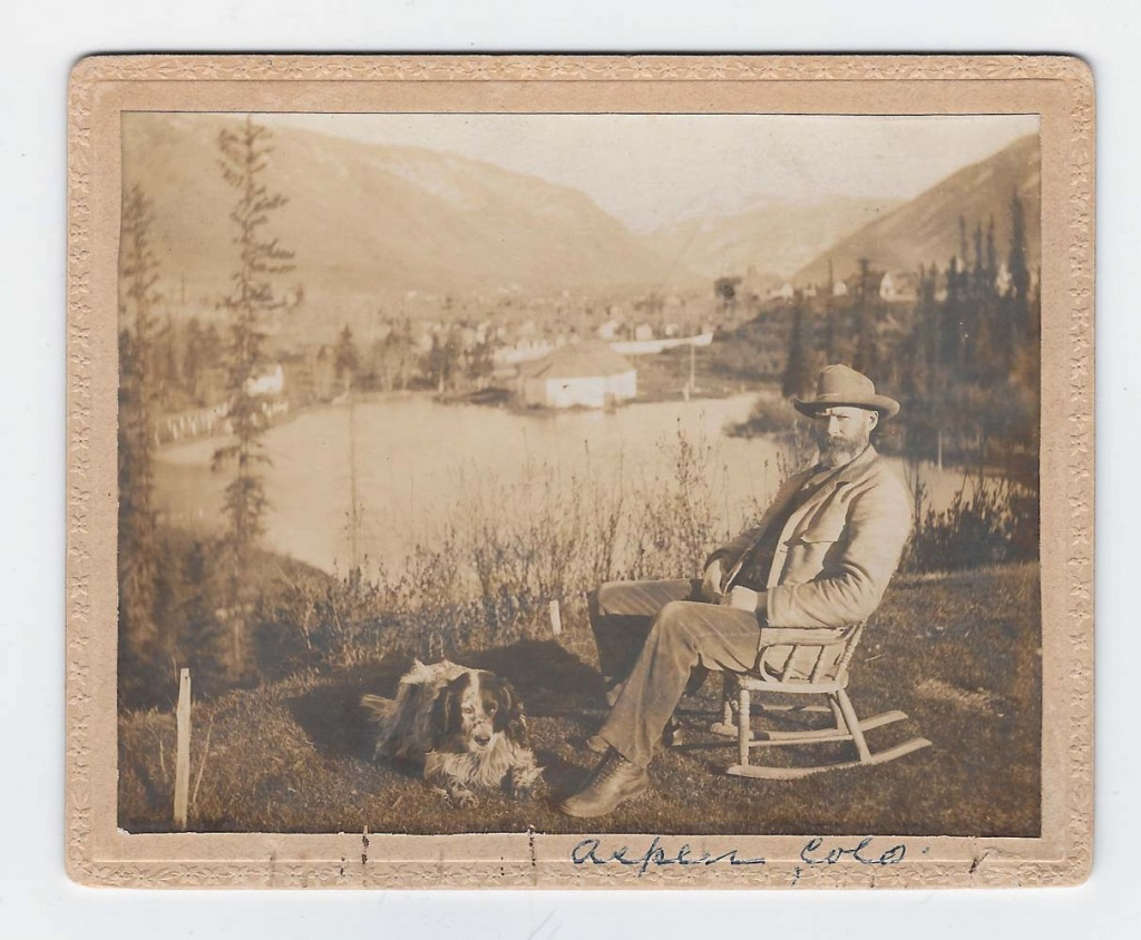Aspen pioneer sitting by Hallam Lake Aspen ca 1895