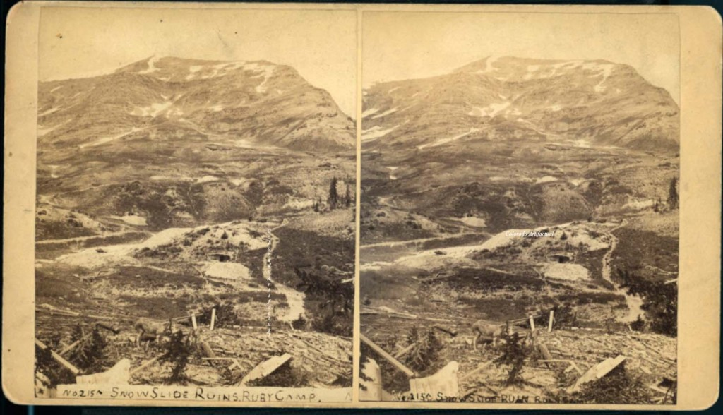 """Back of stereo view: """"Mellen, Landscape Photographer, of the Gunnison, San Juan and Ute Countries, No. 215, Snowslide Ruins Ruby Camp. Frank E. Dean, General Trade Agent, Gunnison, Colo."""" Circa 1881 - 1882."""