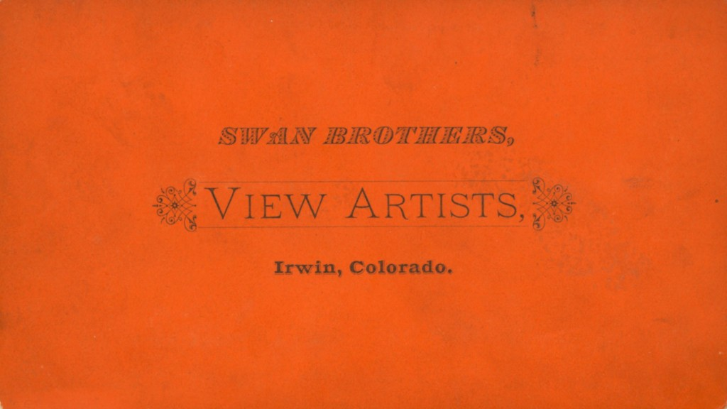 Emblem of the Swan Brothers photography studio when they were located in Irwin, Colorado., circa 1879.